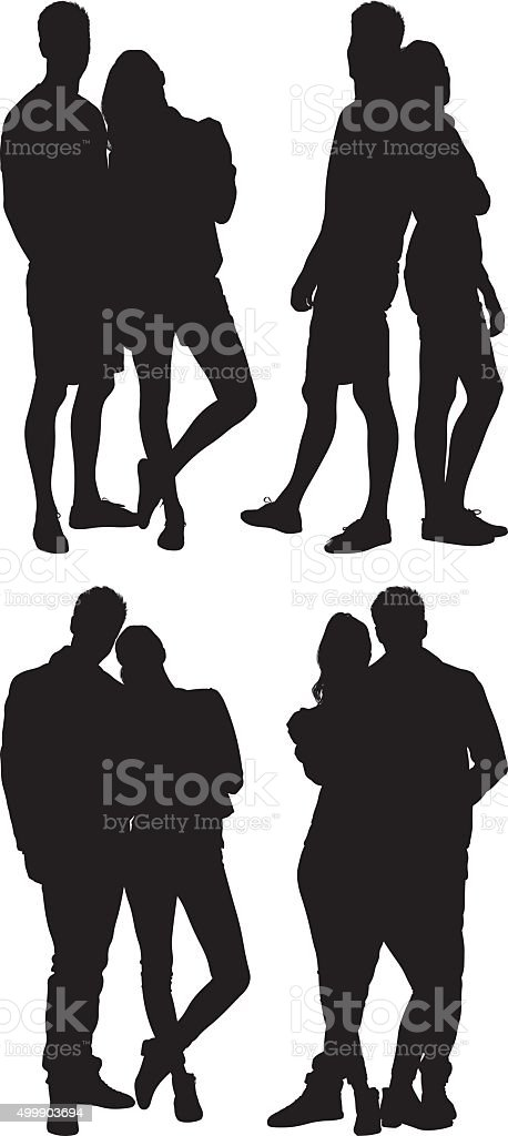 Couple standing in various actions vector art illustration