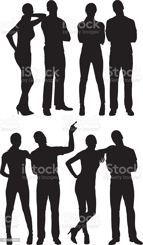 Couple standing in various poses vector art illustration