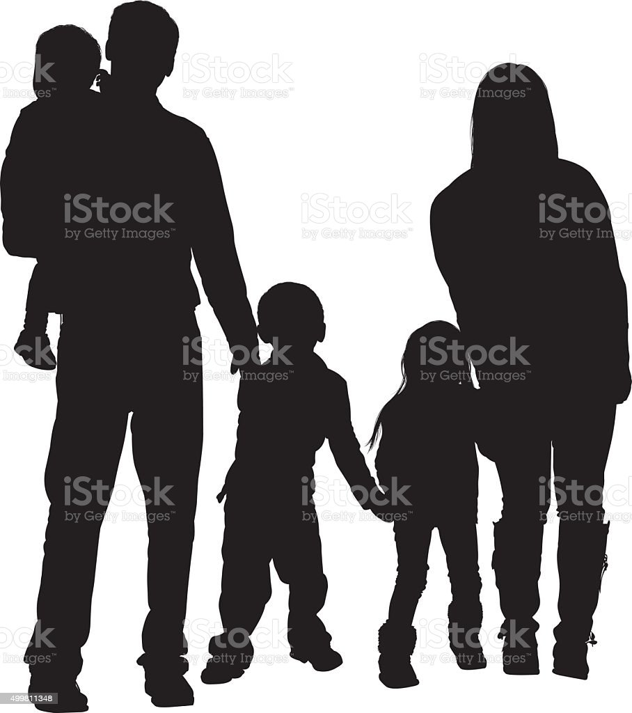 Couple standing with their baby vector art illustration