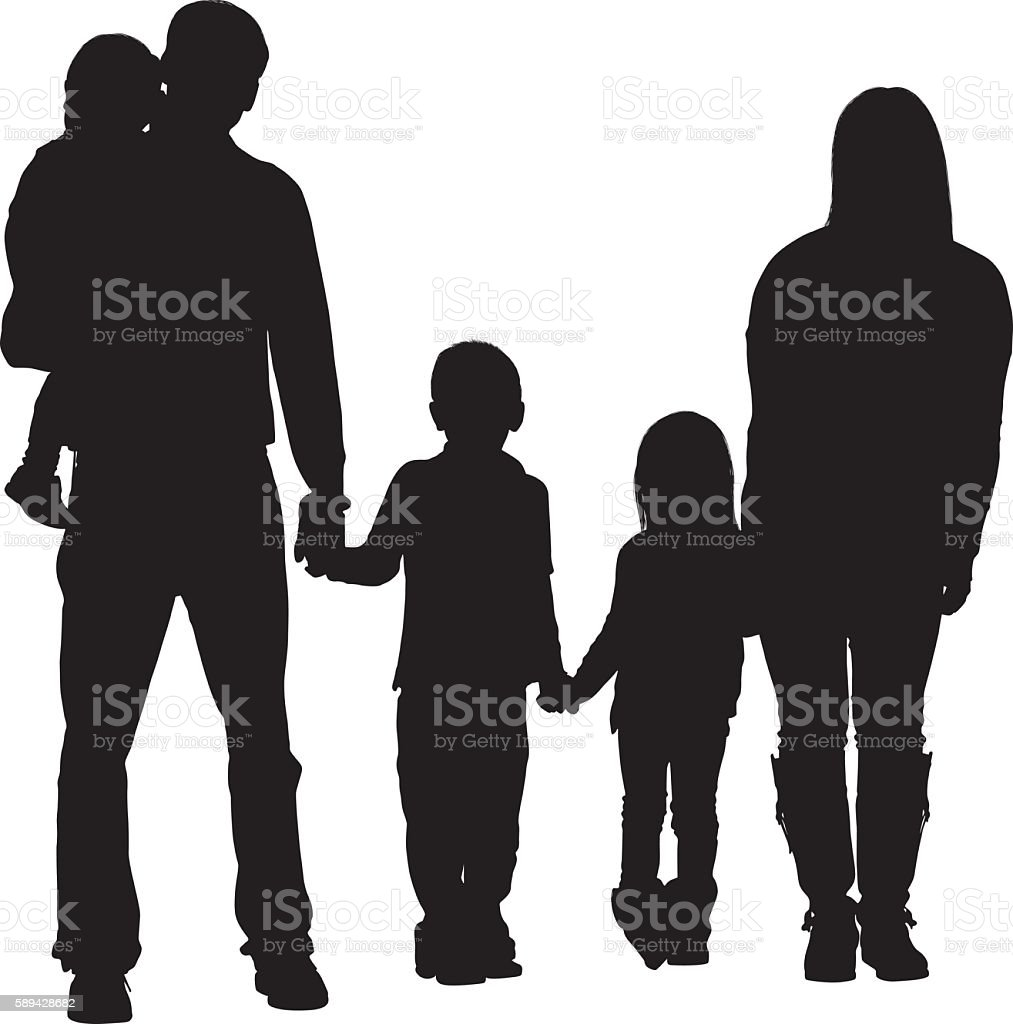 Couple standing with their children vector art illustration