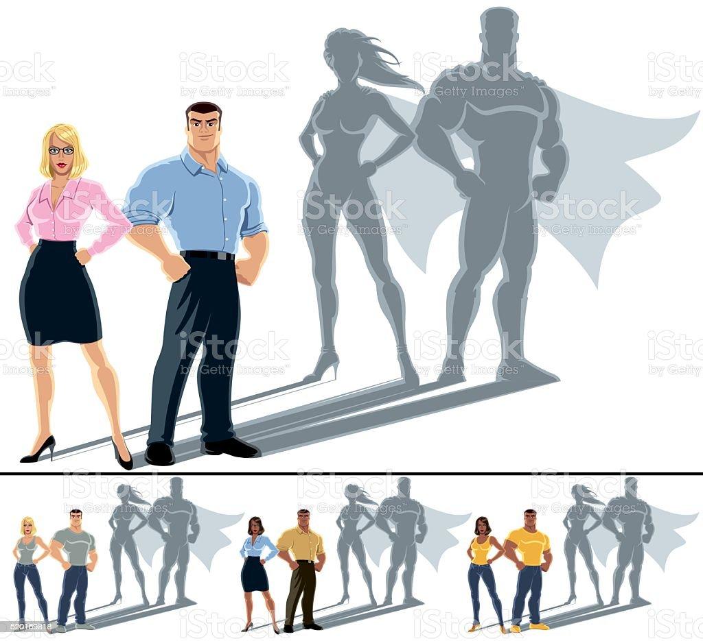 Couple Superhero Concept vector art illustration