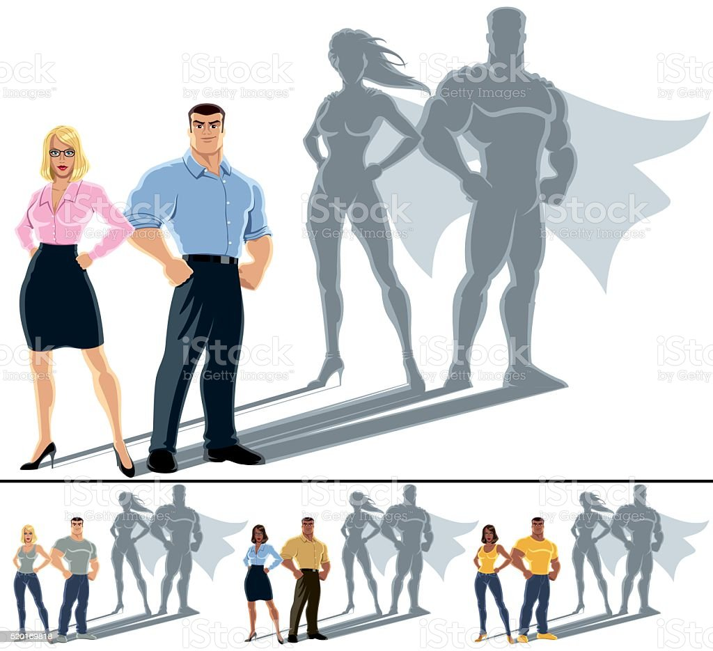 Couple Superhero Concept vector art illustration