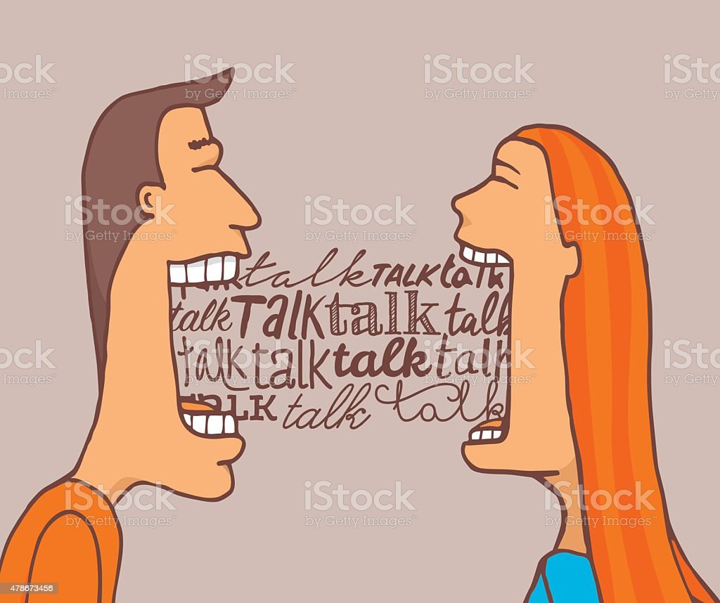 Couple talking and sharing a conversation vector art illustration