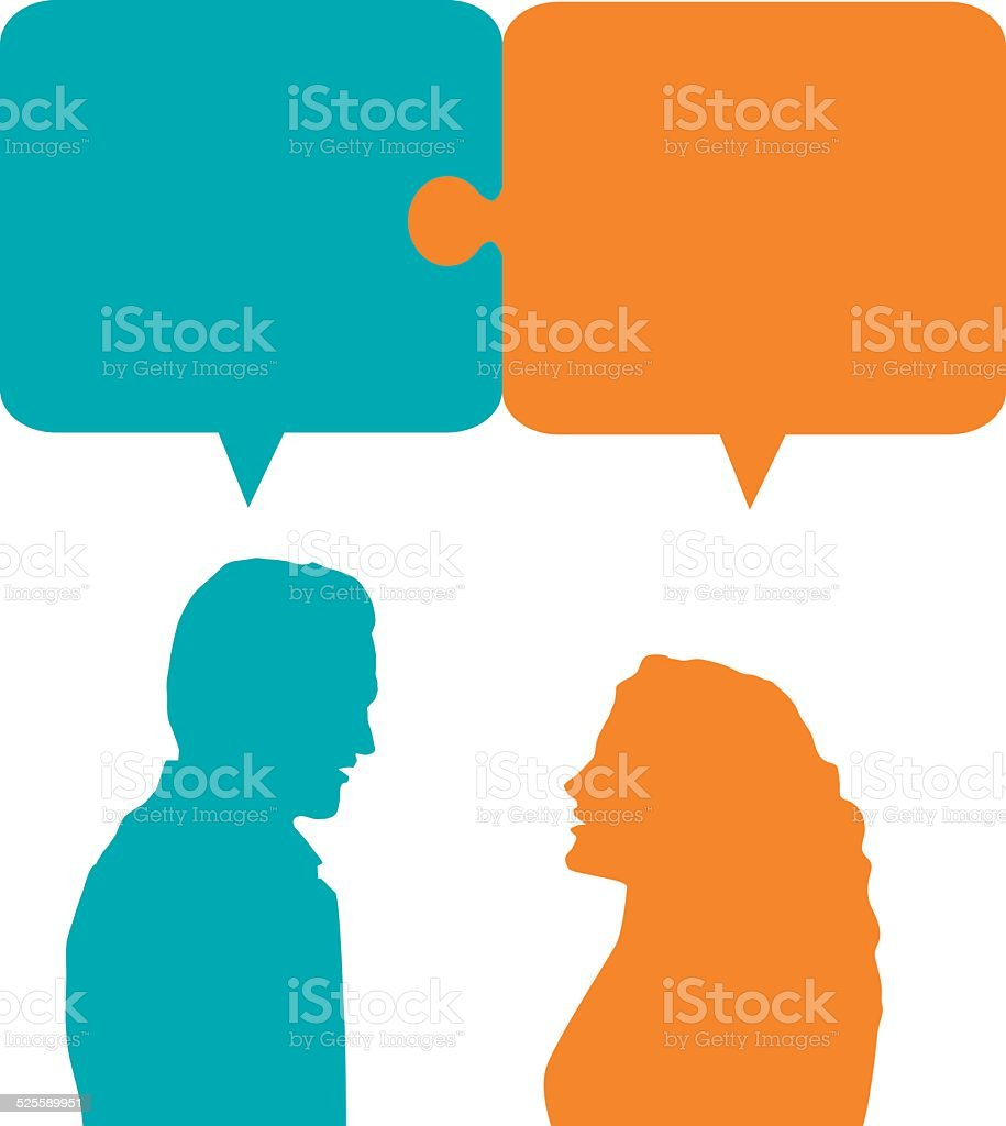Couple talking and working together vector art illustration
