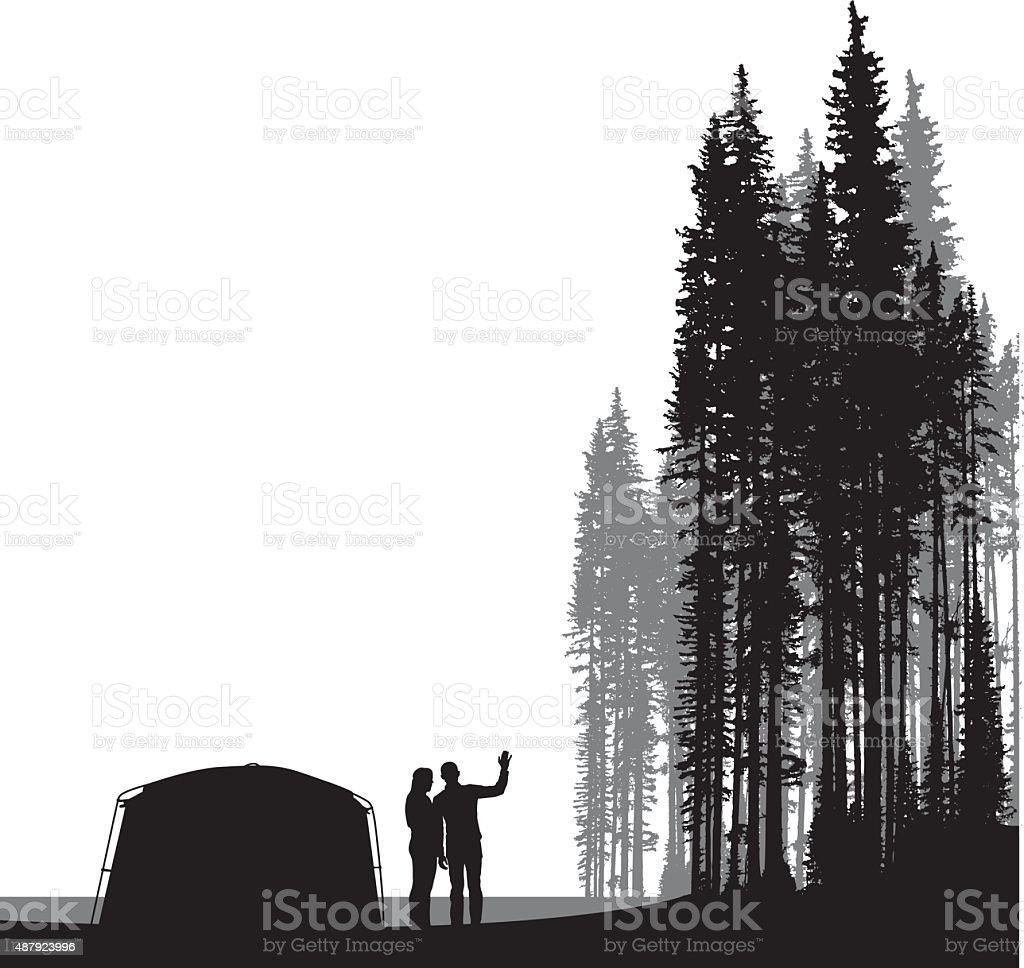 Couple Tenting vector art illustration