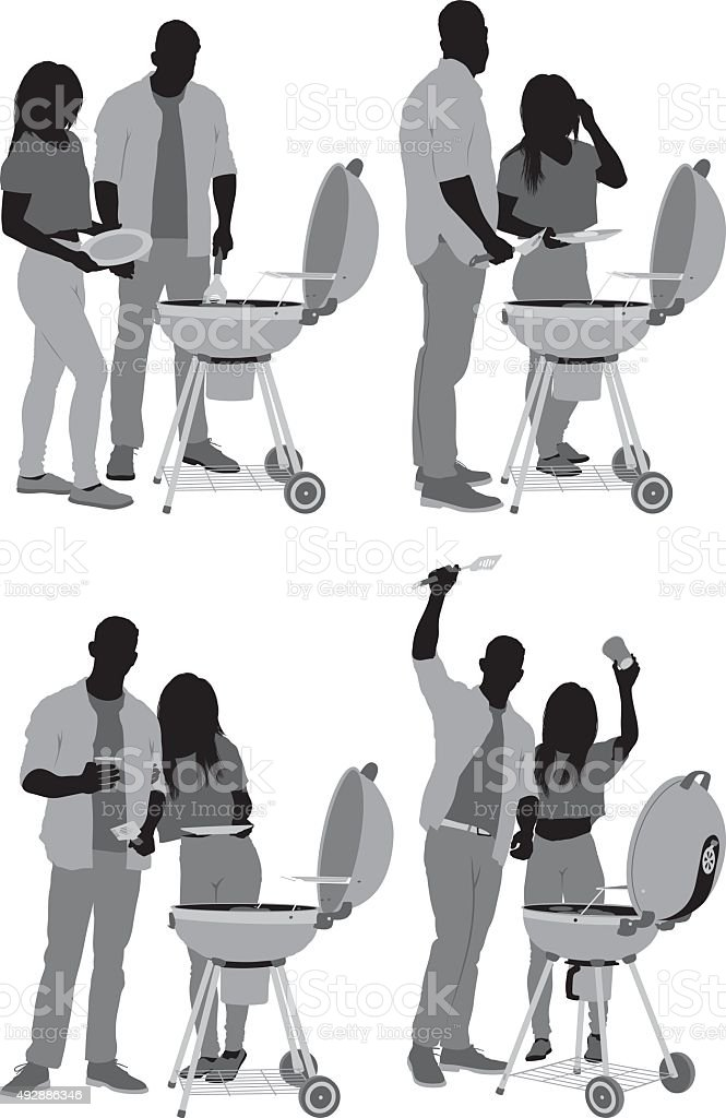 Couple together by the barbecue grill vector art illustration