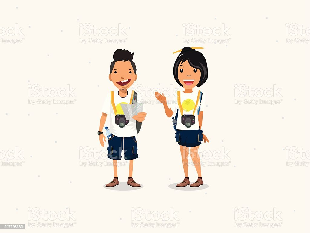 Couple tourist - vector illustration vector art illustration