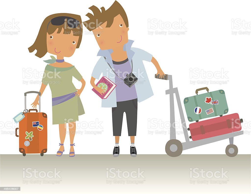 Couple Traveller vector art illustration