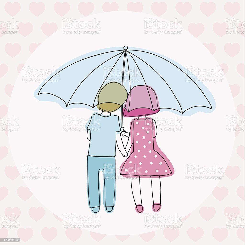 couple under an umbrella royalty-free stock vector art