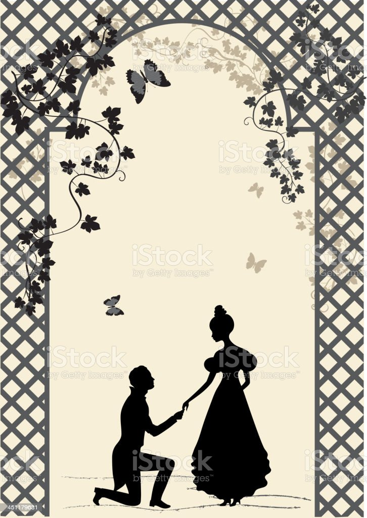 Couple under romantic arbor vector art illustration