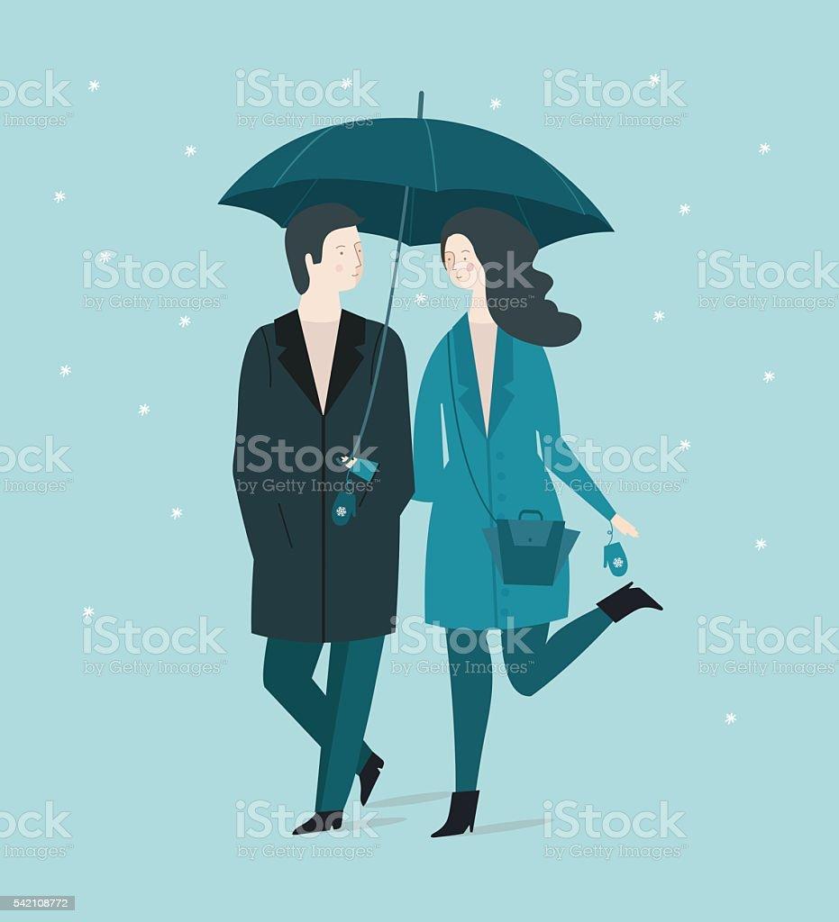 Couple under umbrella vector art illustration