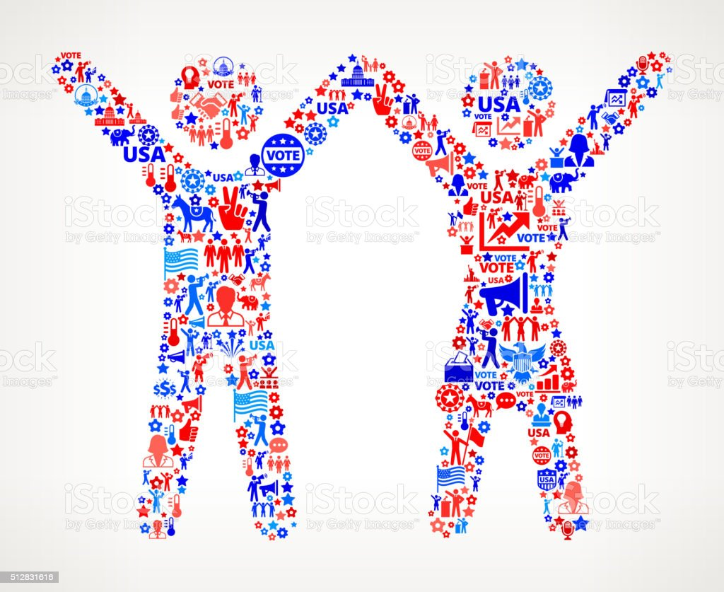 Couple Vote and Elections USA Patriotic Icon Pattern vector art illustration