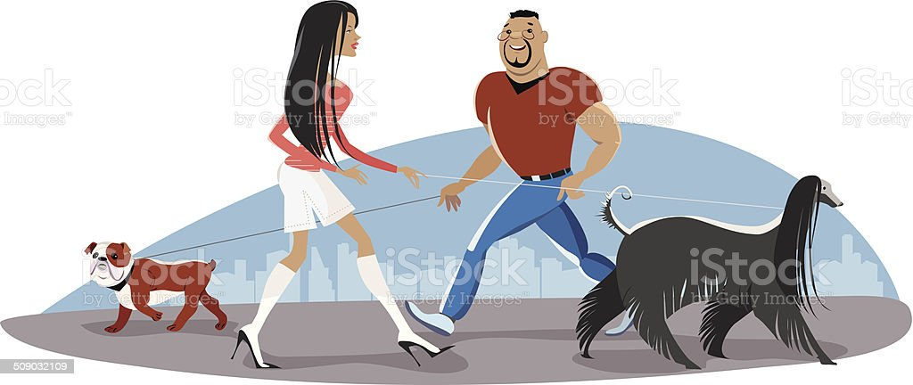 Couple walking dogs royalty-free stock vector art