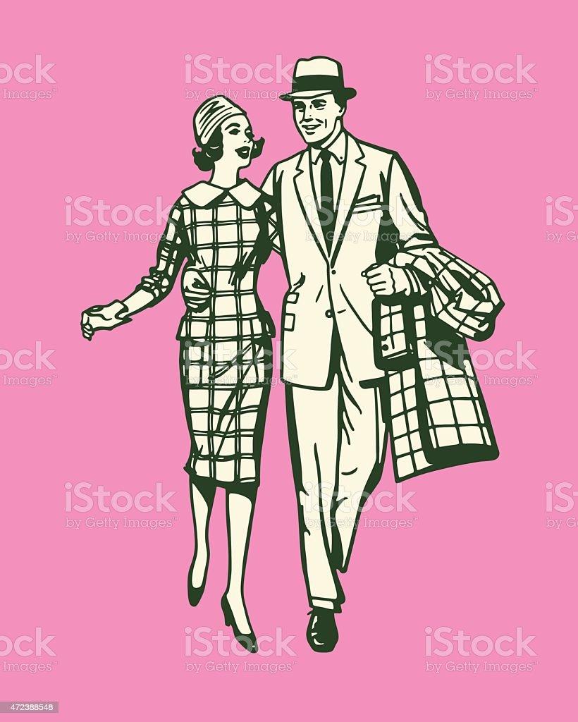 Couple Walking Together vector art illustration
