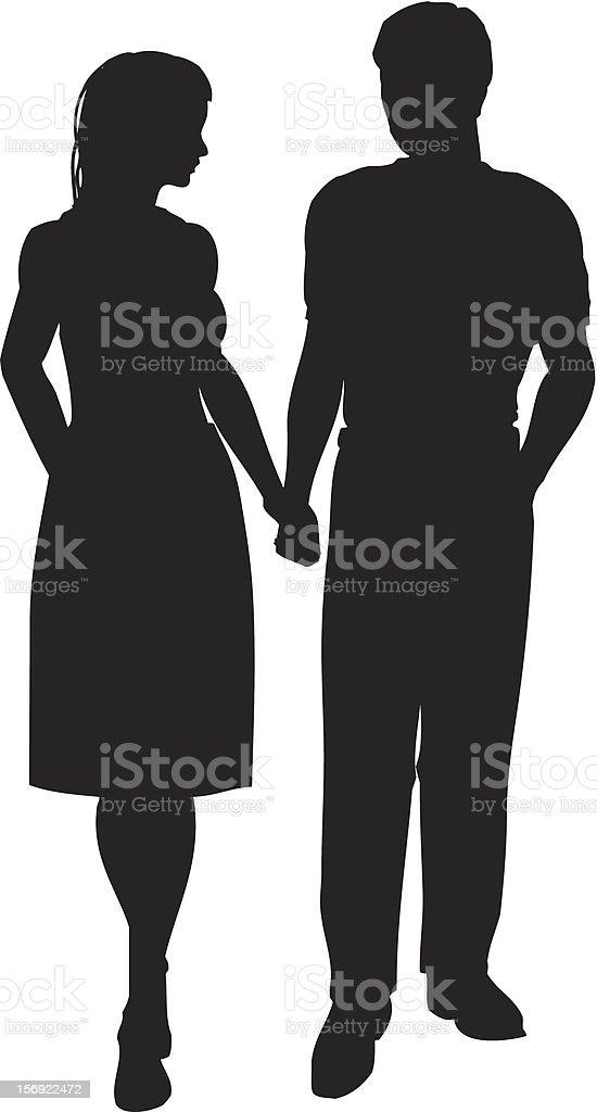 Couple walking royalty-free stock vector art
