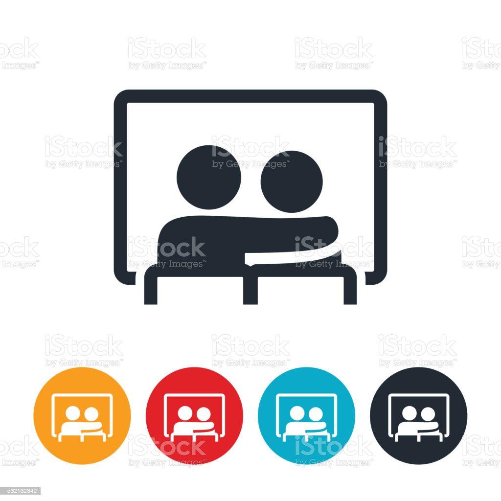 Couple Watching Movie Icon vector art illustration