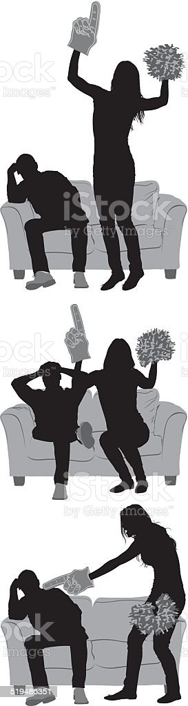 Couple watching sports on television vector art illustration