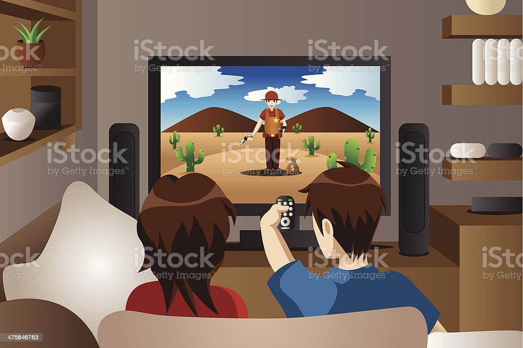 Couple watching television at home vector art illustration