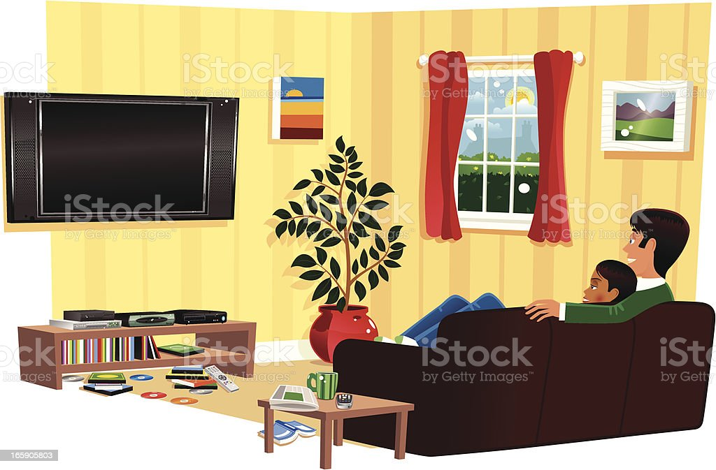 Couple watching TV in living room vector art illustration