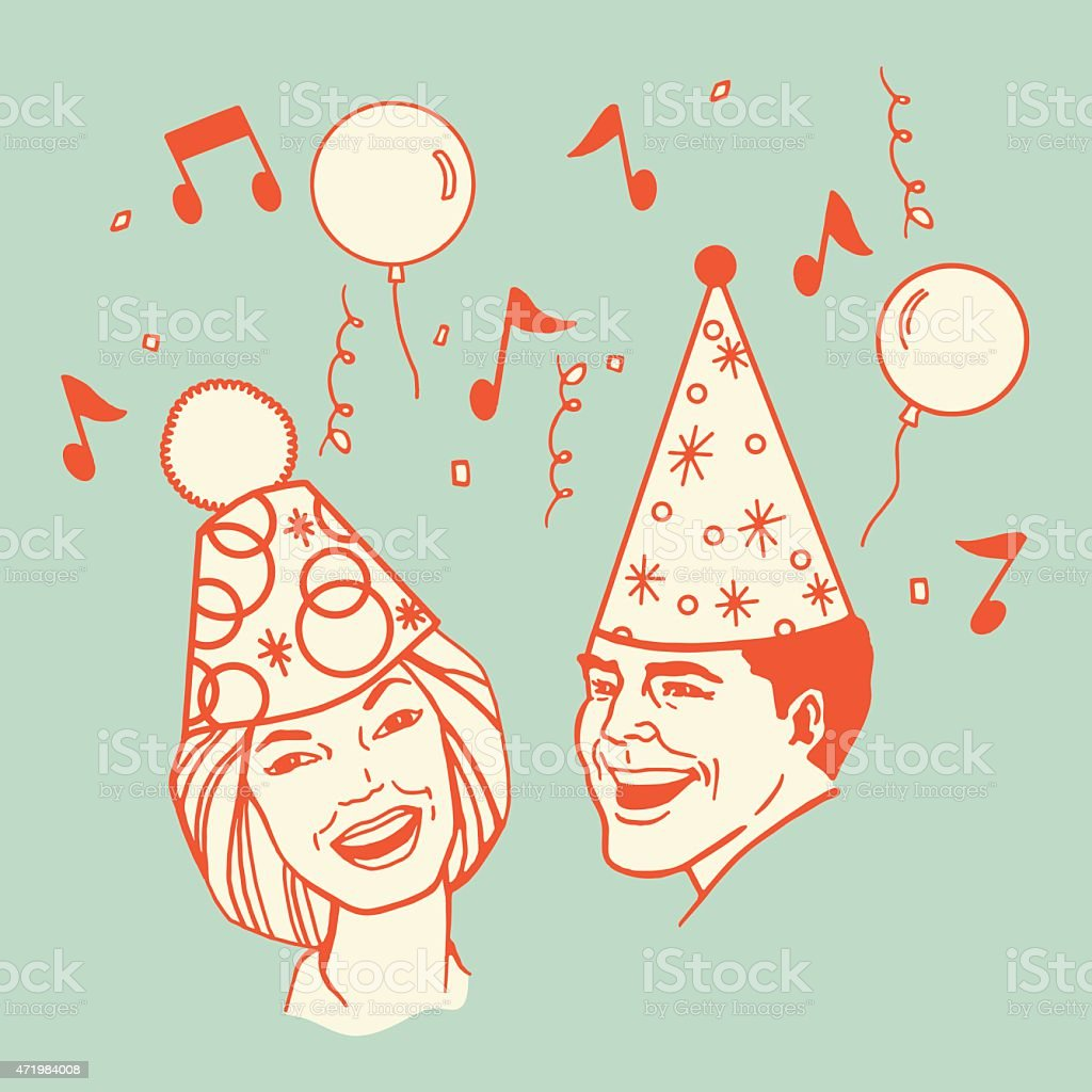 Couple Wearing Party Hats vector art illustration