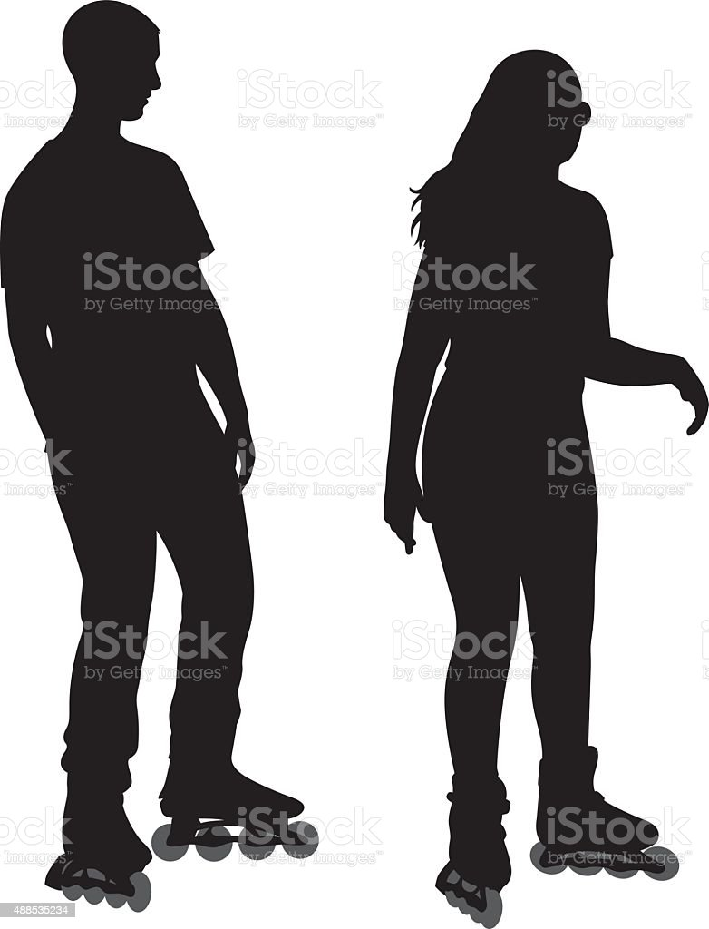 Couple Wearing Rollerblades Silhouette vector art illustration