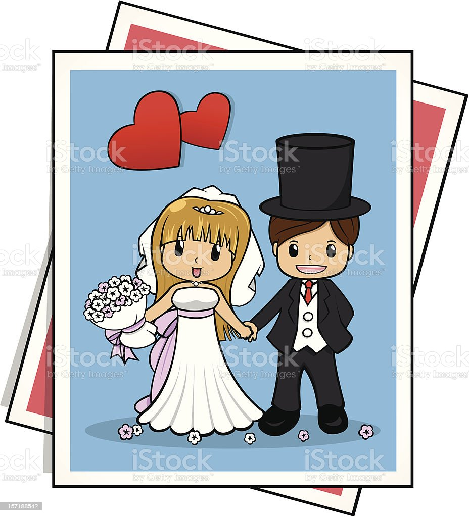 Couple Wedding with Bouquet royalty-free stock vector art