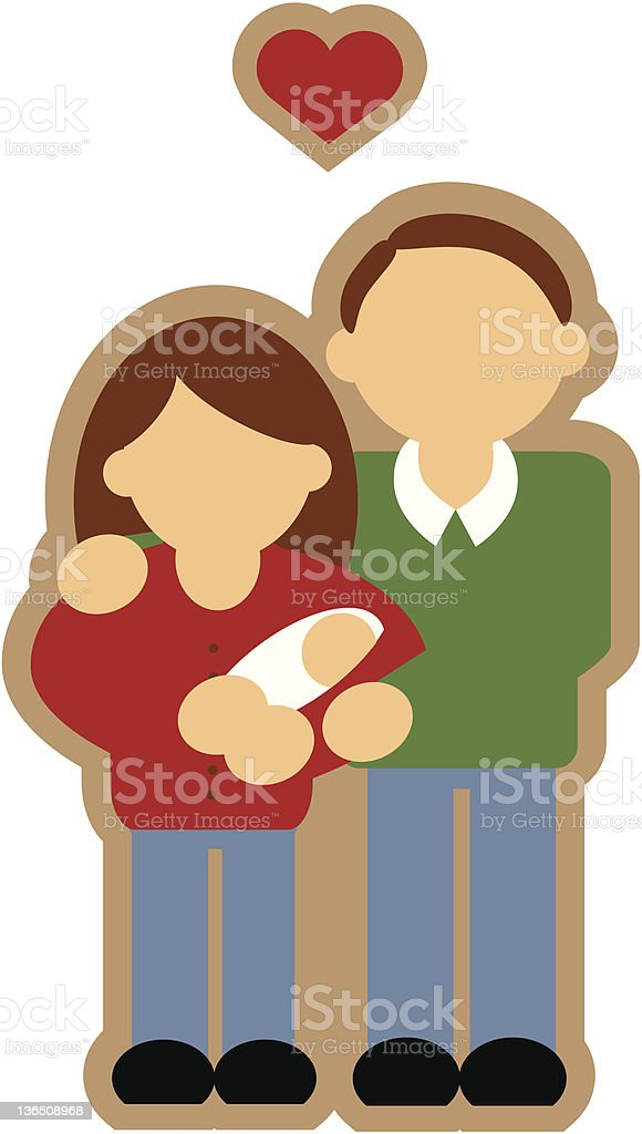 Couple with Baby vector art illustration