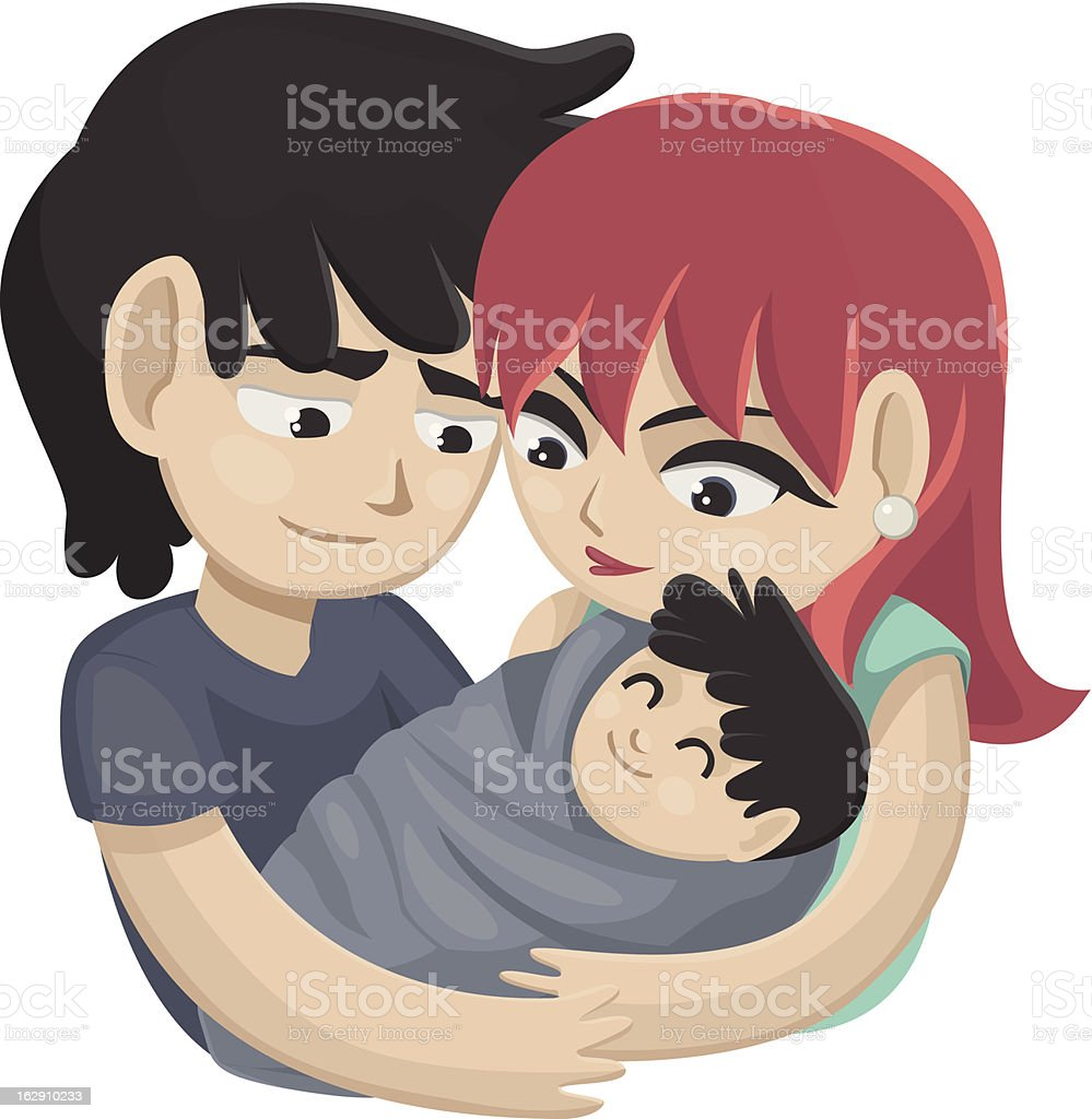 Couple with baby royalty-free stock vector art