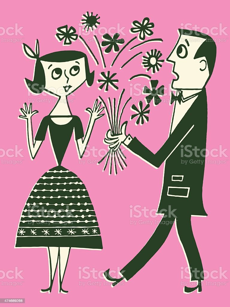 Couple With Bouquet of Flowers vector art illustration