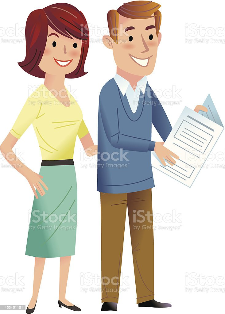 Couple with brochure vector art illustration