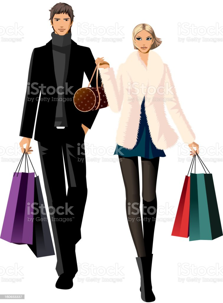Couple with shopping bags royalty-free stock vector art