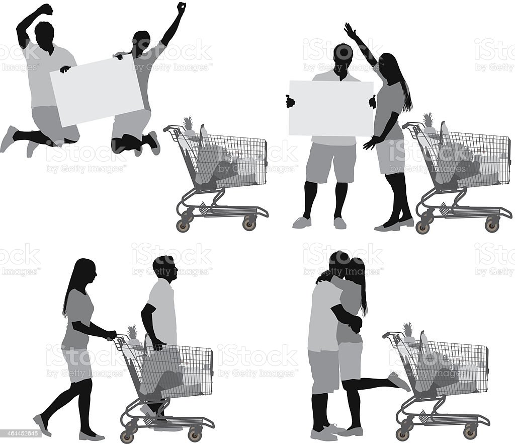 Couple with shopping cart royalty-free stock vector art