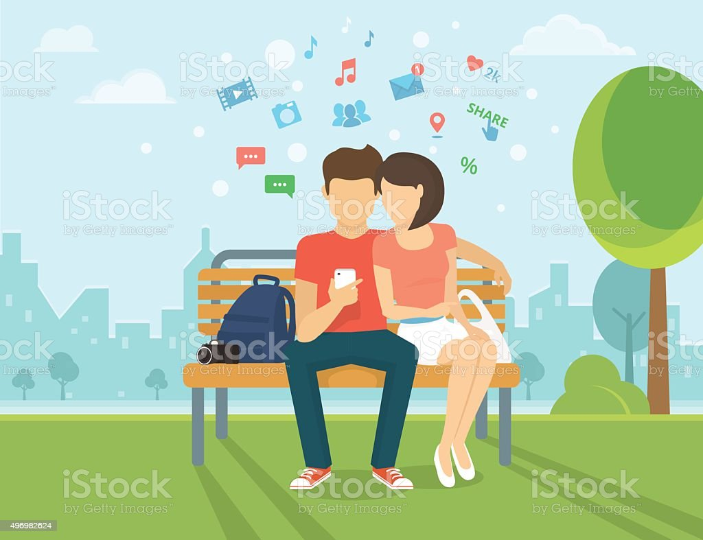 Couple with smartphone outdoors vector art illustration