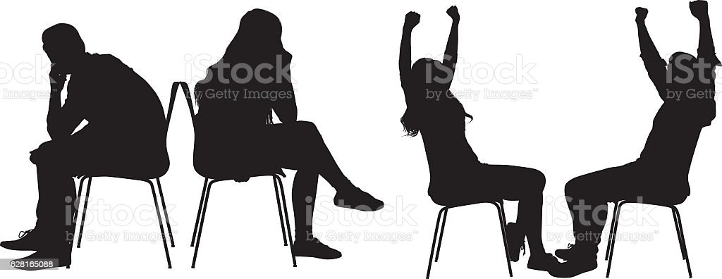 Couple with various actions vector art illustration