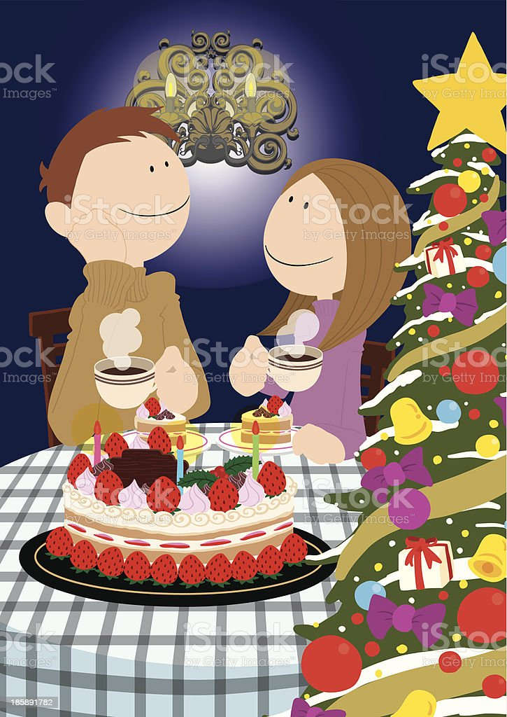 Couple_ChristmasCake royalty-free stock vector art