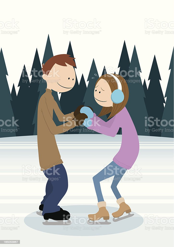 Couple_IceSkating royalty-free stock vector art