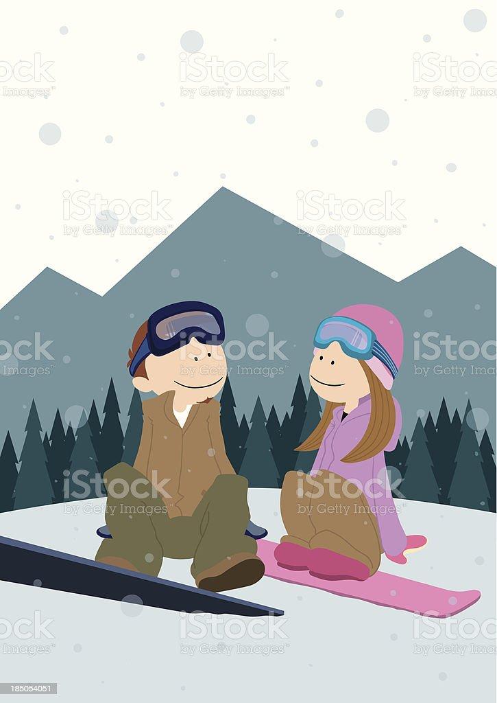 Couple_Snowbording royalty-free stock vector art