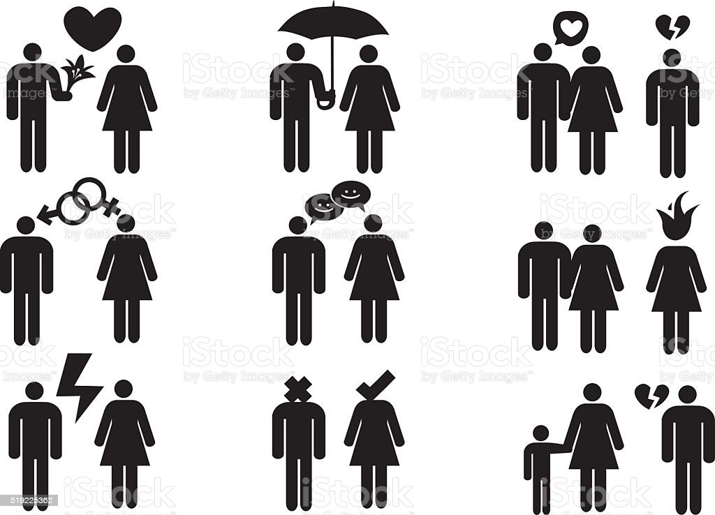 Couples and Relationships Vector Icon Set vector art illustration