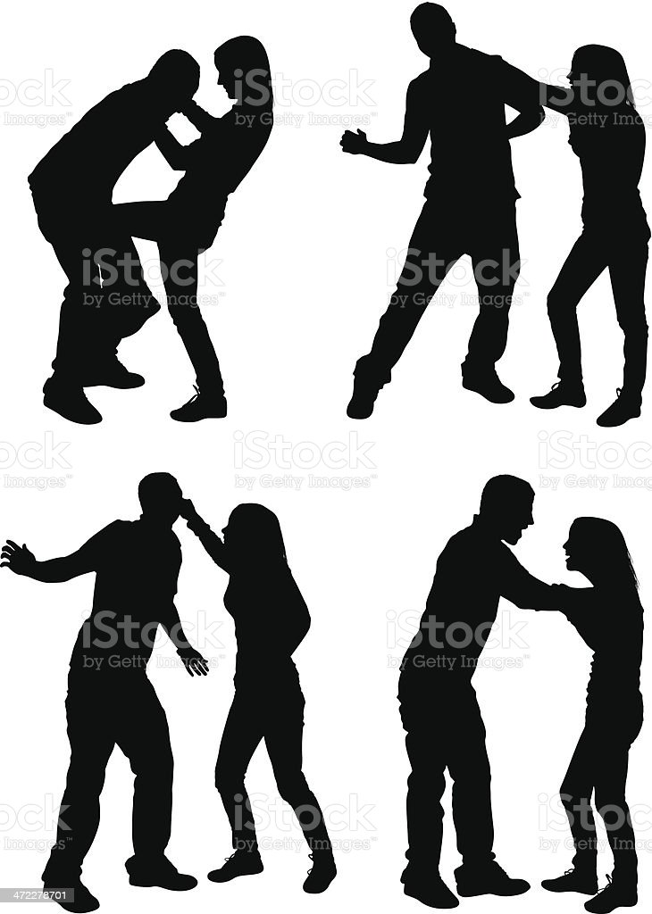 Couples arguing and fighting vector art illustration
