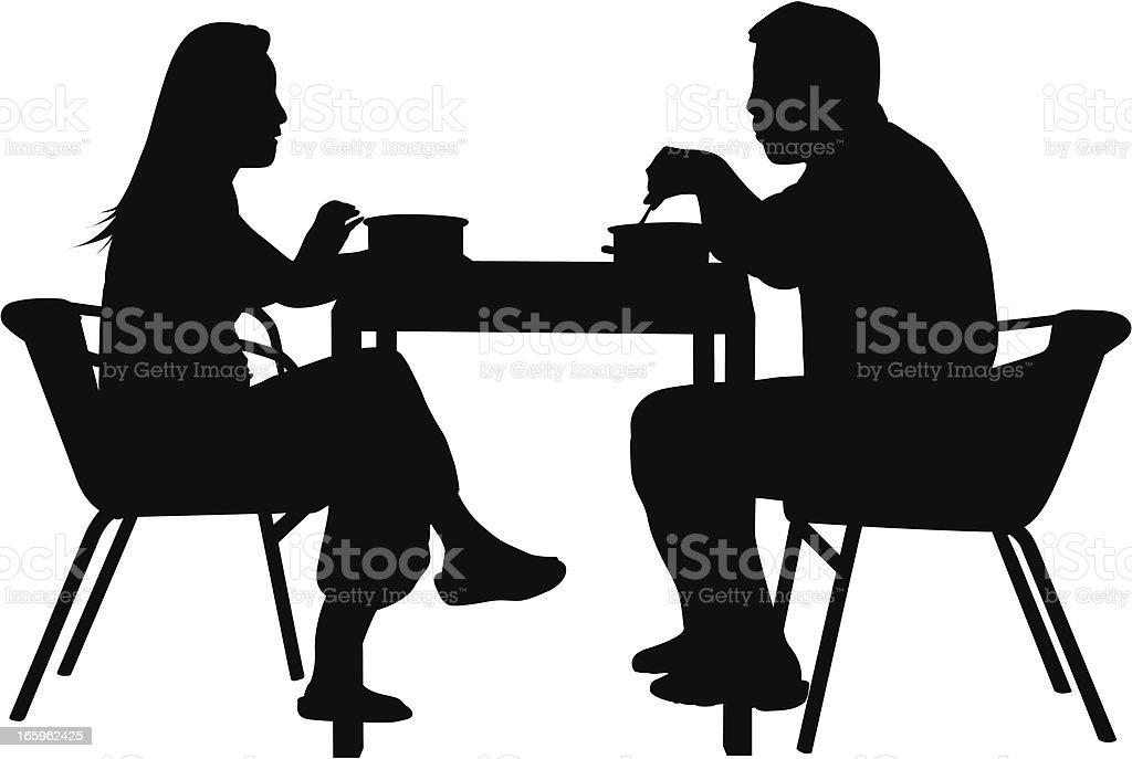 Couples Having Dinner vector art illustration