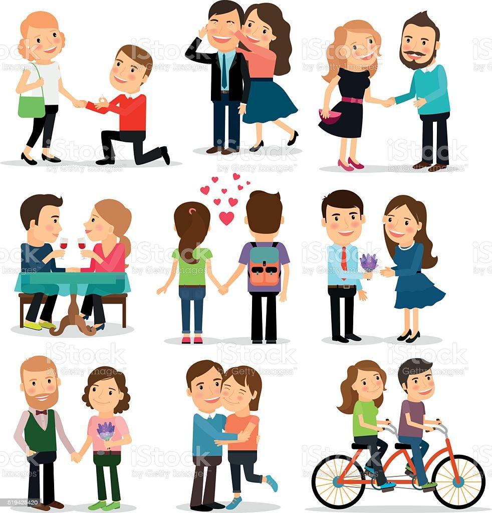 Couples in love set vector art illustration