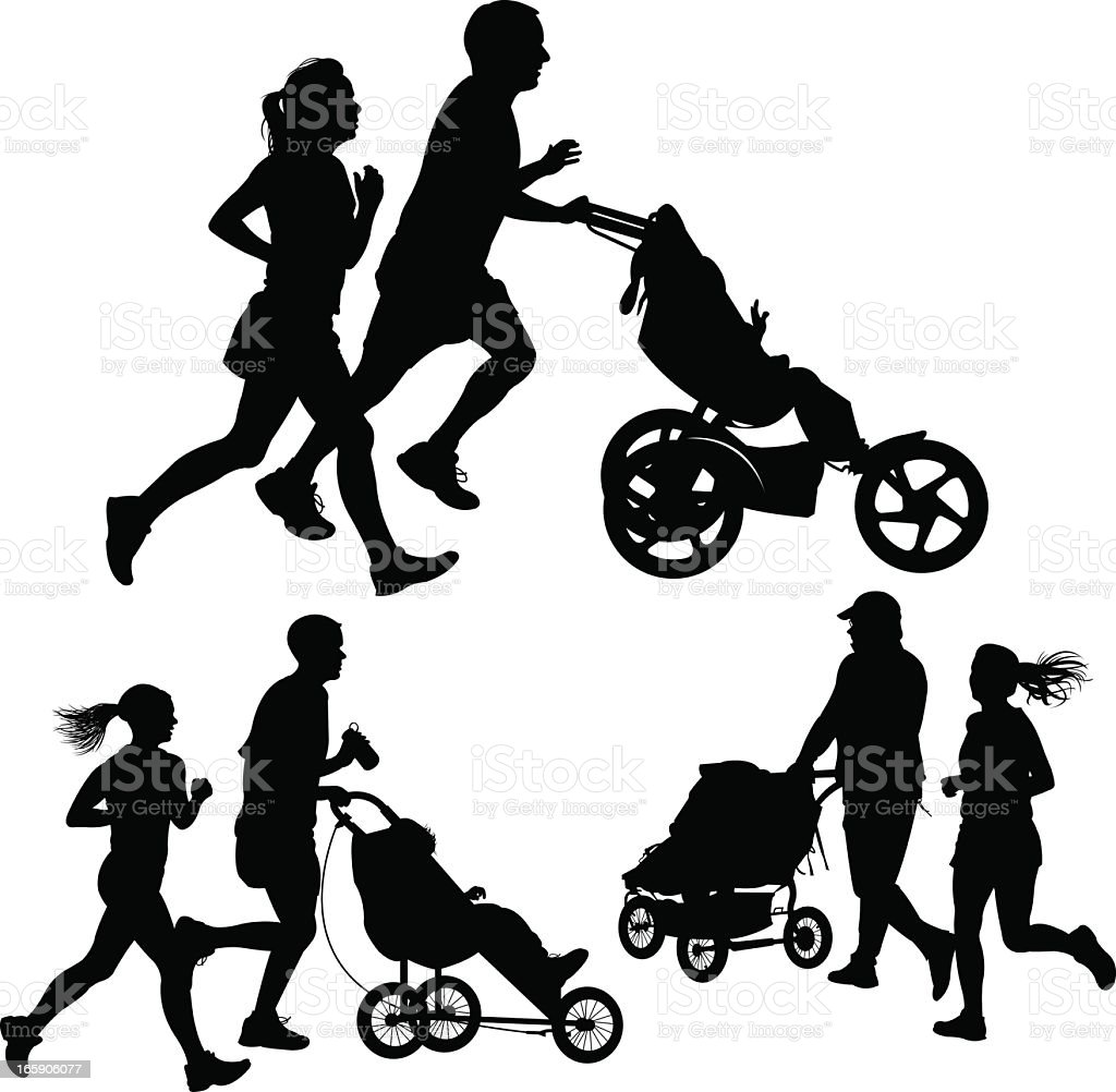 Couples Jogging or Exercising with Baby Stroller royalty-free stock vector art