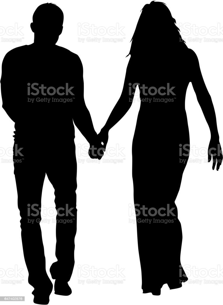 Couples man and woman silhouettes on a white background. Vector illustration vector art illustration