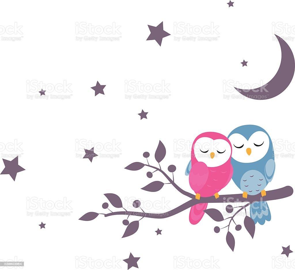 couples of owls sitting on night scene vector art illustration