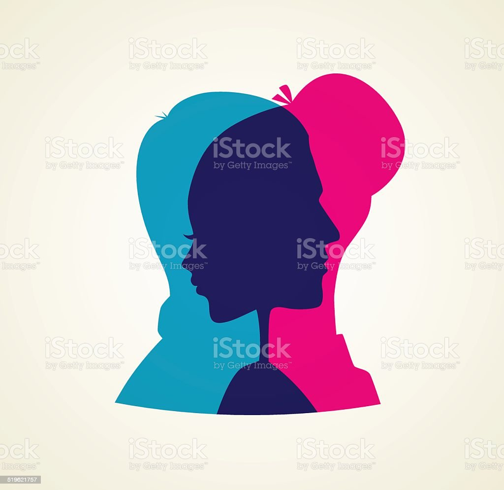 Couple's silhouette vector art illustration