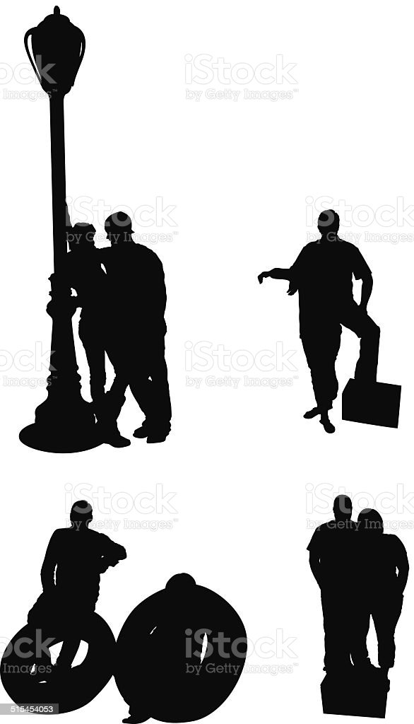 Couples standing together vector art illustration
