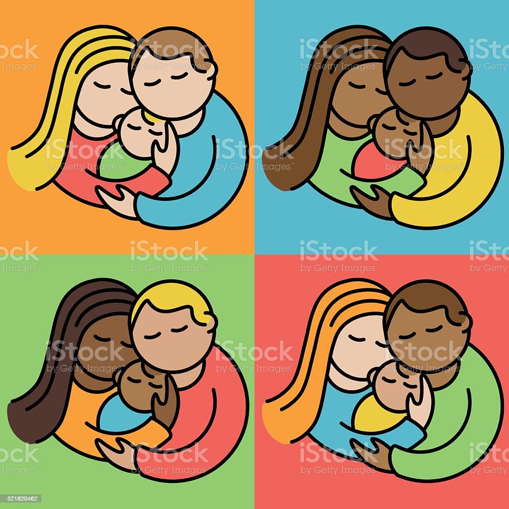 Couples With Babies vector art illustration