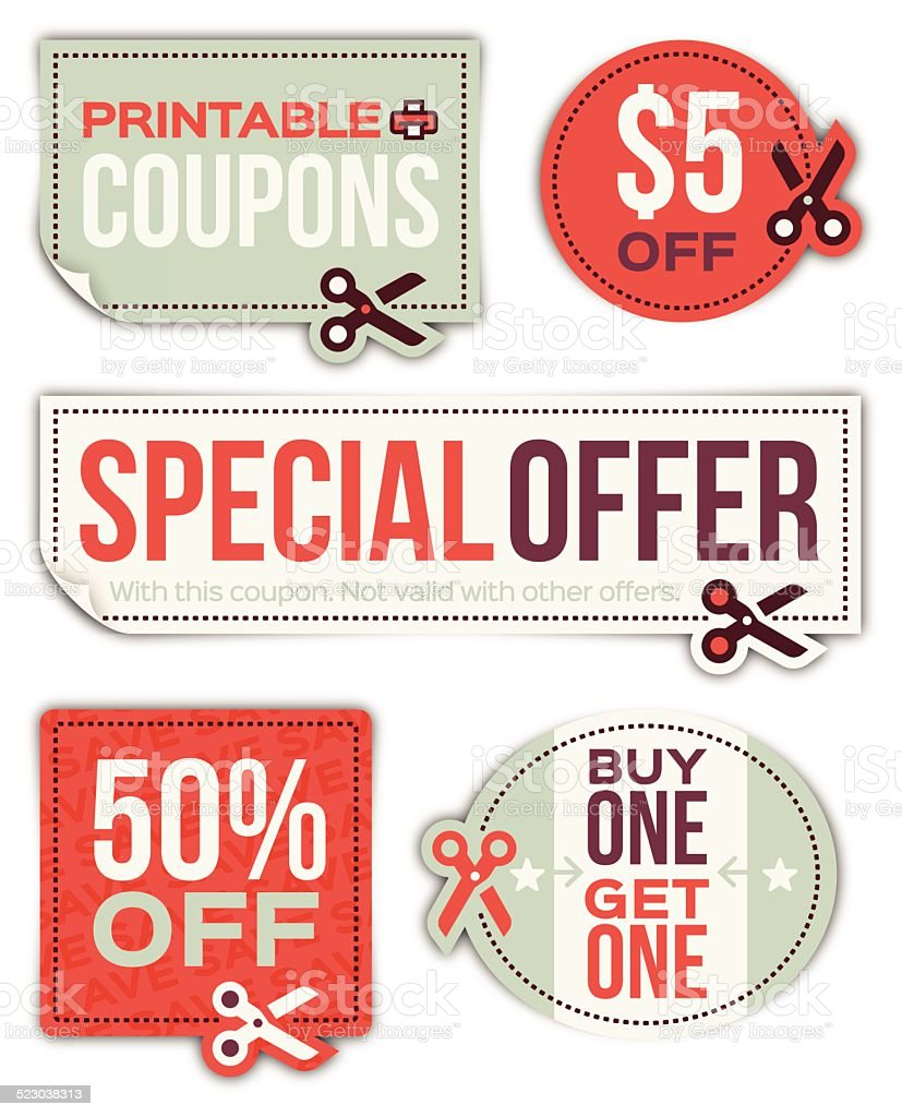 Coupons vector art illustration