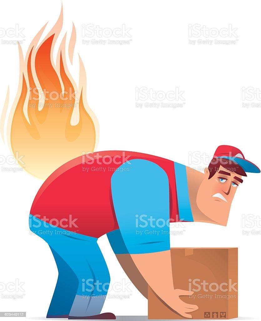 courier having backache vector art illustration