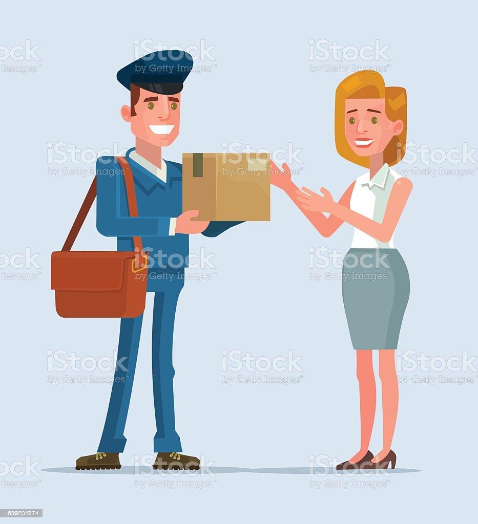 Courier man character brought parcel consumer. Vector flat cartoon illustration vector art illustration